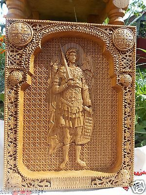"""9""""X7"""" Saint Michael the Archangel Wood Carving christian icon FREE ENGRAVING"""