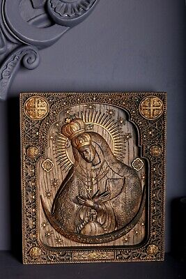 Wood Carved Christian Icon Religious Virgin Mary Ostra Brama Wall Hanging Art