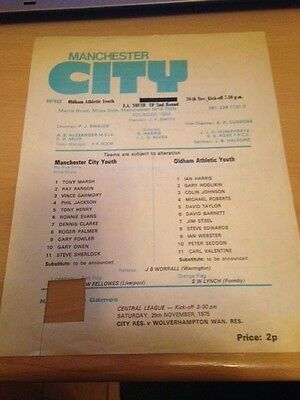 1975/76 Manchester City V Oldham Athletic - Fa Youth Cup