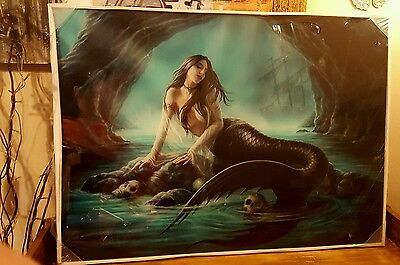 Anne Stokes Sirens Lament 70cm x 50cm Glass wall Picture
