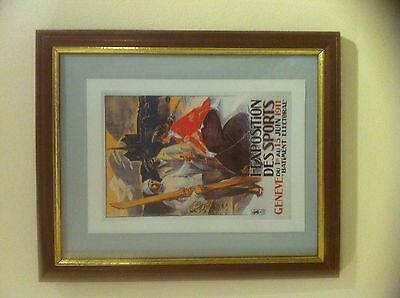 1911 Geneva Exposition Des Sports Advertising Print Framed  29 x 24 cms   Geneve