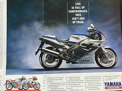 Yamaha Fzr1000 # 1991 Model # 2 Page Original Motorcycle Advert
