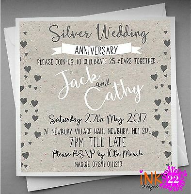 Personalised Silver Wedding Anniversary Invitations pack Party 10,20,30,40,50