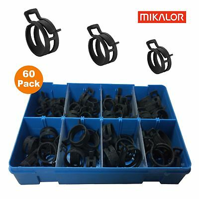 60 x Assorted Mikalor Heavy Duty Spring Band Clamps Radiator Pipe Air Fuel Clips
