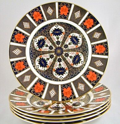 "Royal Crown Derby China Old Imari 1128 10½"" Dinner Plates X 5 1St Perfect!"