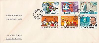 Q 861 Qatar November 1968  United Nations Day First Day Cover; Dukhan cds