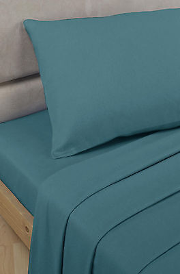 Polycotton Percale - Fitted Sheet - Teal - Double