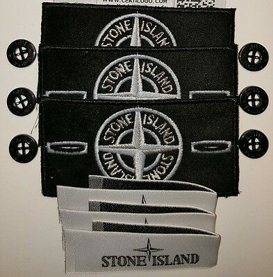 3x genuine stone island glow in the dark badge sets + buttons lables @SALE@
