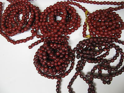 Christmas Tree Red Cranberry Garland Wood Bead 6 Strands Over 49 Feet 591 Inches