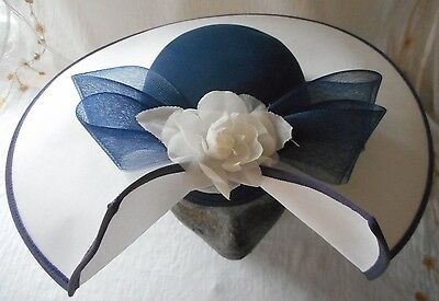 NOTO special occasion hat - wedding/races - white/blue - Made in UK - VGC