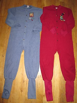 2 Boys One Piece Pajamas Convert a Foot  Maroon & Blue Footed Size 7
