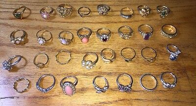 31 Signed AVON Rings Vintage Gold Silver Tone Rhinestones Faux Pearl More - J-59