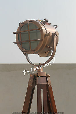 Nautical Electric Floor Lamp With Tripod Stand Morden Searching Copper light.