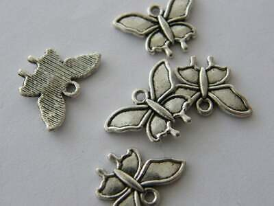 5pcs Large Butterfly Moth Fly Charms Pendants Antique Silver Tone 37x48 2593