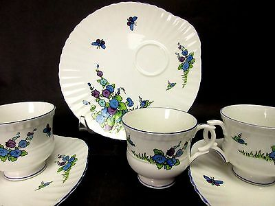 Snack Luncheon Set of 3 Crown Staffordshire Cups & Plates Bone China England