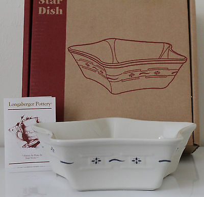 Longaberger Woven Traditions Pottery Classic Blue Large Star Dish Bowl New Rare