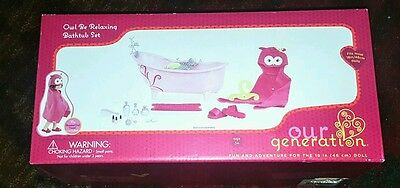 """Our Generation Owl Be Relaxing Bath Tub Set for 18"""" Poseable Doll"""