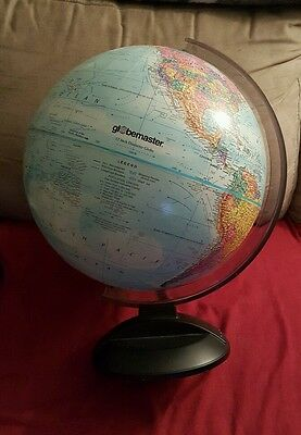 "GLOBEMASTER 12"" WORLD GLOBE w/ Raised Relief, smoke grey plastic base"