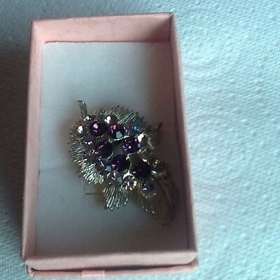 Silver Tone Leaf Shaped Brooch With Purple And Lilac Coloured Diamantes