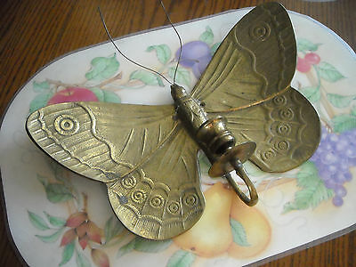 Large Vintage Heavy Solid Brass Butterfly Candle Holder Wall Hanging
