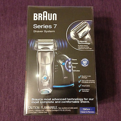 New Braun Series 7 790cc-4 Pulsonic Rechargeable Men's Electric Shaver, Silver