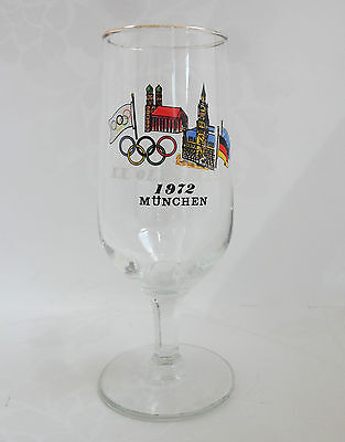 Munich Olympics 1972 Pilsner Glass Transfer Decorated Commemorative Collectable