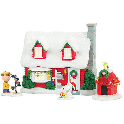 Department 56 Peanuts Christmas Collectible House Charlie Brown Snoopy Woodstock