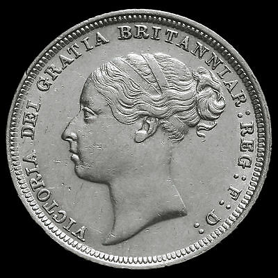 1885 Queen Victoria Young Head Silver Sixpence – Scarce – EF