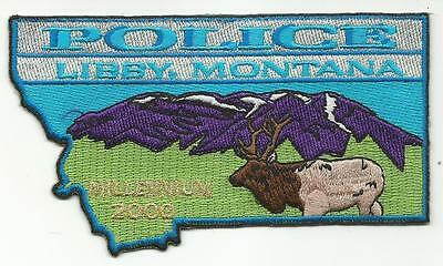 Libby MONTANA MT Police patch state shape beautiful elk mountains Millenium 2000