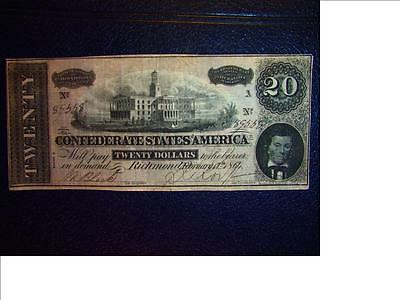 1864 $20 DOLLAR BILL CONFEDERATE STATES  Series 89558 MONEY T67