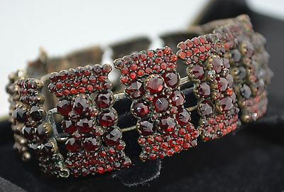 Early Victorian Rose Cut Garnet Bracelet
