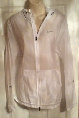 Bnwt Mens Nike Size Large White Transparent Packable Hooded Coat Jacket Running