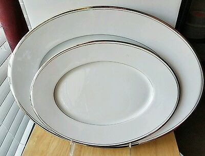 "Sango DION 12"" Oval  & 16"" Oval Serving Platters White Platinum Trim"