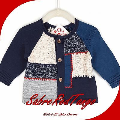 Nwt Hanna Andersson Baby Patchwork Cardigan Sweater Blue Multi 60 2-6 M