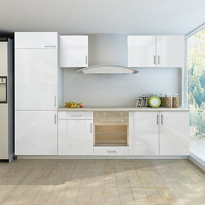 Kitchen High Gloss Cabinet Set Fitted Unit Storage White Base Wall Modern Doors