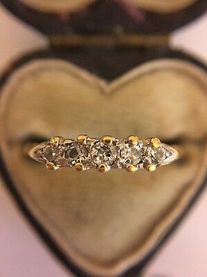 Vintage Five Stone Diamond Ring 18ct Yellow Gold And Platinum