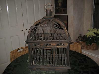 """Vintage Decorative Wood & Wire Bird Cage 25"""" Tall With Slide Open Bottom"""