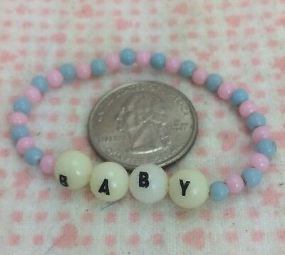 Vintage Baby Id Bracelet Pink Blue Beaded Beads B A B Y Elastic Cord Doll Name