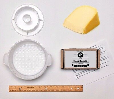Gouda Hard Cheese Full Making Kit + Mold With Follower Large For 2.2lbs / 1kg