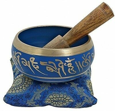 4 Inches Hand Painted Metal Tibetan Buddhist Singing Bowl Musical Instrument