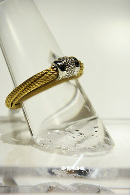 $395 ALOR Diamond 0.05tc 18K Gold Stainless Steel Cable Ring Size 7
