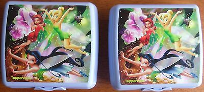 Tupperware Set/2 Purple Tinkerbell Fairies Sandwich Keepers