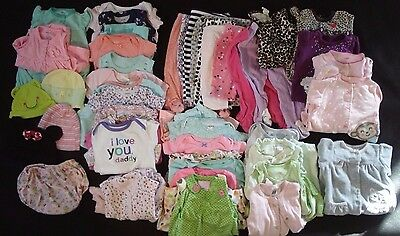 48 pc Lot of Baby girl clothes size 3 6 9 months VGUC
