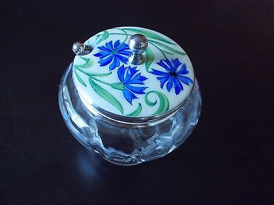 Antique Glass jar hand painted enamel on plated nickel/silver, sterling spoon