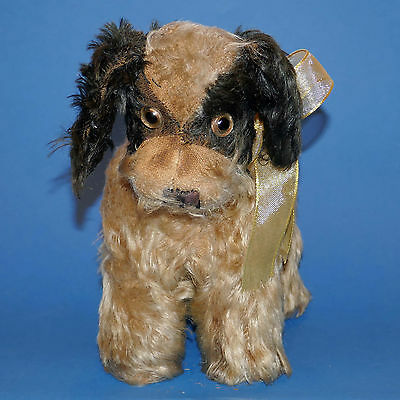 lovely antique ISA English mohair dog with metal label 1920s