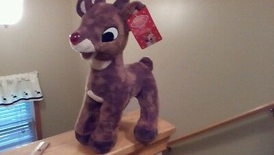 """Dan Dee Rudolph the Red Nosed Reindeer large plush light up nose 16"""" tall, 10"""" W"""