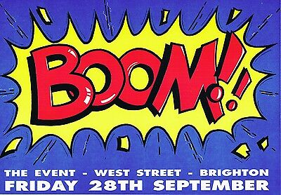 BOOM Rave Flyer Flyers A5 28/9/90 The Event Brighton
