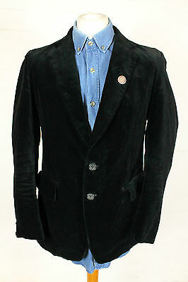 VINTAGE BLACK VELVET BLAZER COAT JACKET 90s MENS MEDIUM