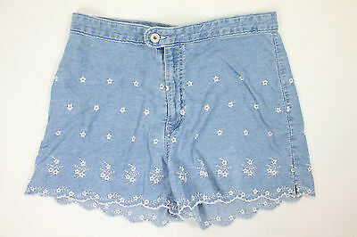 """VINTAGE 90s DOES 70s DENIM SHORTS FLORAL EMBROIDERY HIPPIE BOHO WOMENS 12 32"""""""