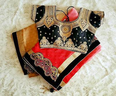 USA tomato red black saree with ready made blouse